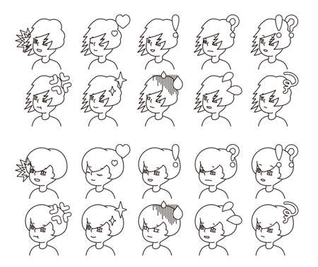 Profile illustration of two people facial expression variation 26  イラスト・ベクター素材