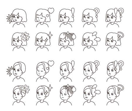 Profile illustration of two people facial expression variation 23