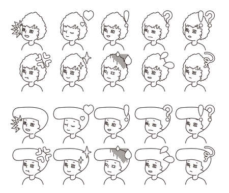 Profile illustration of two people facial expression variation 33