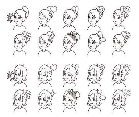 Profile illustration of two people facial expression variation 32