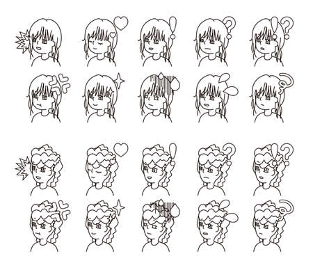 Profile illustration of two people facial expression variation 25  イラスト・ベクター素材