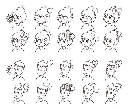 Profile illustration of two people facial expression variation 21  イラスト・ベクター素材