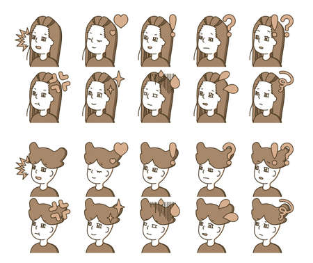 Brown figure profile illustration facial expression variation 2