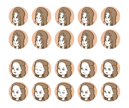 Two person profile icons (brown) facial expression variations 7