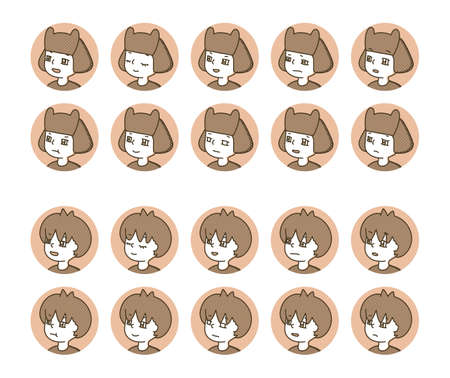 Two person profile icon (brown) facial expression variation 14  イラスト・ベクター素材