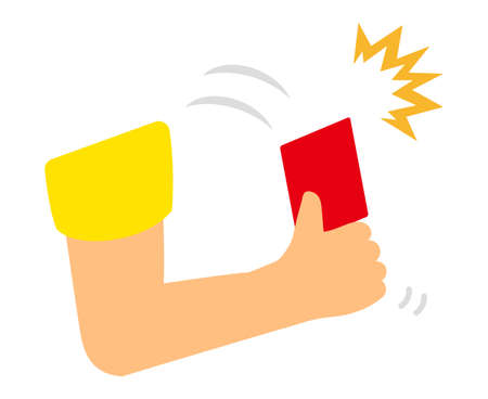 Take out the red card. Иллюстрация