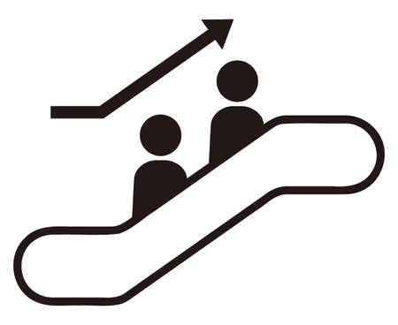 People getting on ascending escalator 일러스트