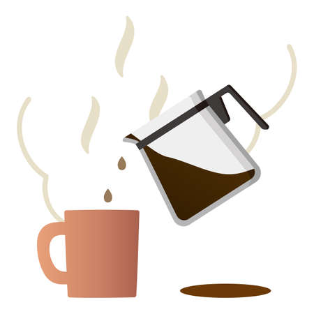 Pour the coffee from the coffee server into a mug. Illustration