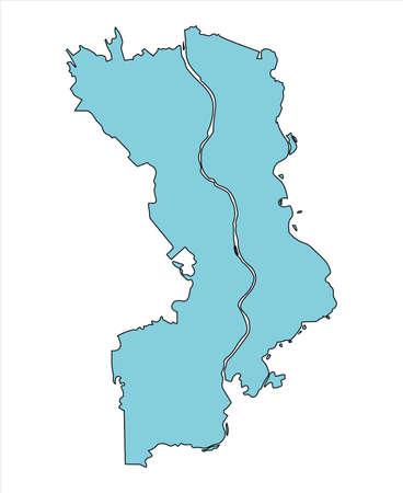 Map of Joso City, Ibaraki Prefecture, Japan.
