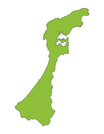 Ishikawa prefecture,Japan. Isolated vector illustration. Vektorové ilustrace