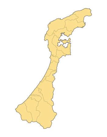 Ishikawa prefecture,Japan. Isolated vector illustration.