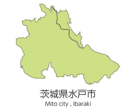 "Map of Mito City, Ibaraki Prefecture, Japan.Translation: ""Mito City, Ibaraki Prefecture."""