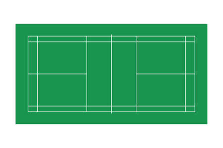 Badminton court isolated vector illustration.