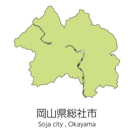 "Map of Soja City, Okayama Prefecture, Japan.Translation: ""Soja City, Okayama Prefecture."""