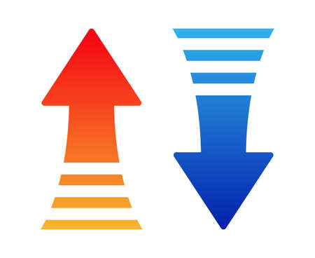 Up and down arrows isolated vector illustration.