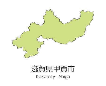 "Map of Koka City, Shiga Prefecture, Japan.Translation: ""Koka City, Shiga Prefecture."""