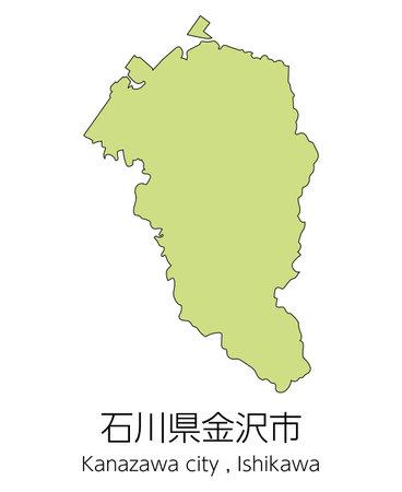 """Map of Kanazawa City, Ishikawa Prefecture, Japan.Translation: """"Kanazawa City, Ishikawa Prefecture."""""""