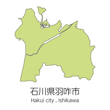 """Map of Hakui City, Ishikawa Prefecture, Japan.Translation: """"Hakui City, Ishikawa Prefecture."""""""