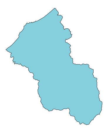 Map of Kaga City, Ishikawa Prefecture, Japan. Vektorové ilustrace