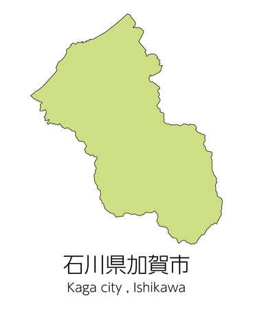"""Map of Kaga City, Ishikawa Prefecture, Japan.Translation: """"Kaga City, Ishikawa Prefecture."""" Vektorové ilustrace"""