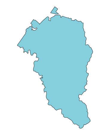 Map of Kanazawa City, Ishikawa Prefecture, Japan.