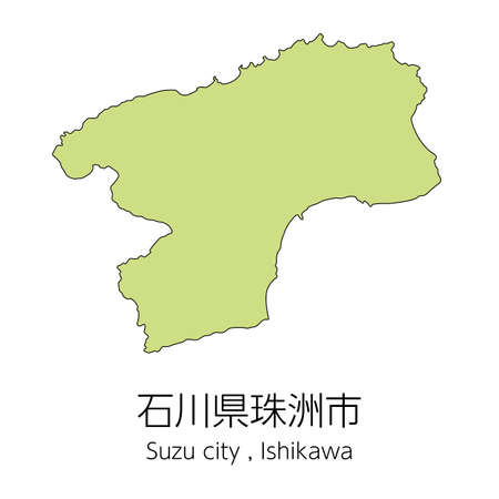 "Map of Suzu City, Ishikawa Prefecture, Japan.Translation: ""Suzu City, Ishikawa Prefecture."""