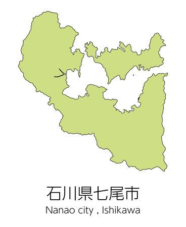 "Map of Nanao City, Ishikawa Prefecture, Japan.Translation: ""Nanao City, Ishikawa Prefecture."" Vektorové ilustrace"