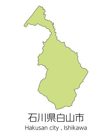 """Map of Hakusan City, Ishikawa Prefecture, Japan.Translation: """"Hakusan City, Ishikawa Prefecture."""""""