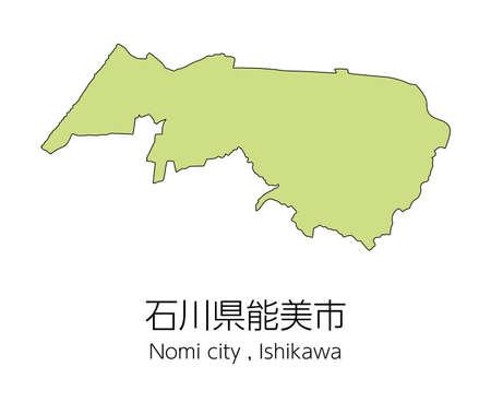 "Map of Nomi City, Ishikawa Prefecture, Japan.Translation: ""Nomi City, Ishikawa Prefecture."" Vektorové ilustrace"