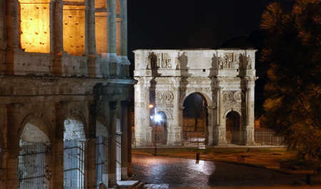 constantine: The Arch of Constantine at night, Rome, Italy