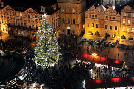christmas market: Christmas market trade fair in Prague Stock Photo