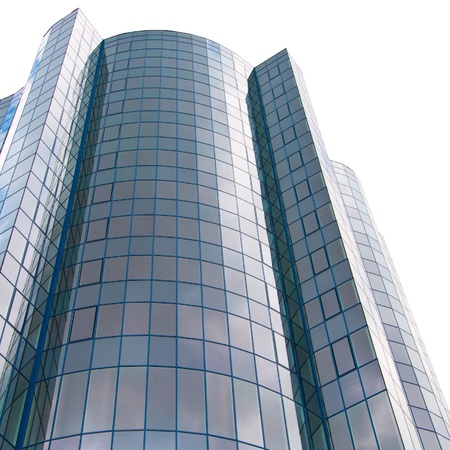 company building: High office building isolated on white Stock Photo