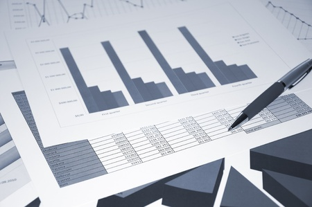 Business documents, schedules, pen on a table Stock Photo - 9741226