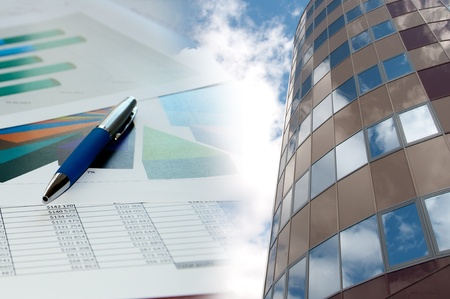 Office building, official papers, business collage photo