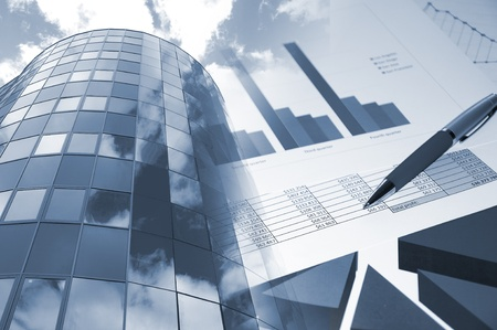 business collage: Office building, official papers, business collage Stock Photo