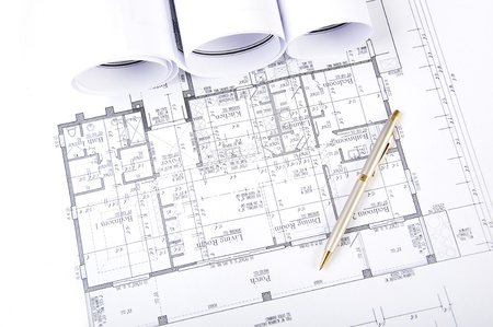 Construction plans, ball pen, business collage, paperwork Stock Photo - 9910359