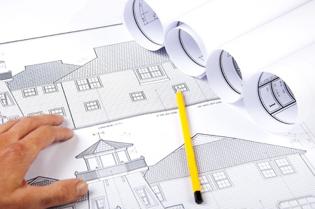 pencil, hand, papers, blueprint for business collage Stock Photo - 9910371