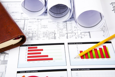 pencil, charts, documents, notepad, blueprint for business collage Stock Photo - 9910362