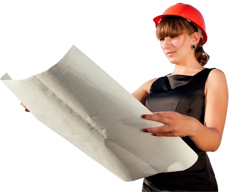 considers: Business woman considers construction plans, white color background
