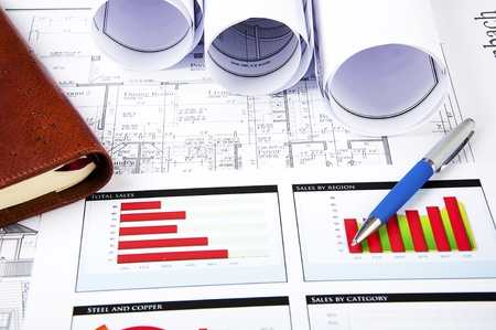 analisys: blueprints, charts of growth and daily, business collage Stock Photo