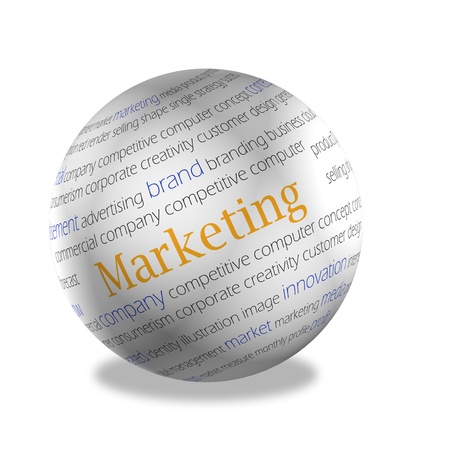 subject matter: 3d area, on a surface words on subject matter of marketing are represented