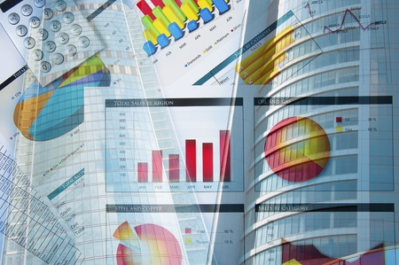 document management: Office building and finance charts, business collage Stock Photo