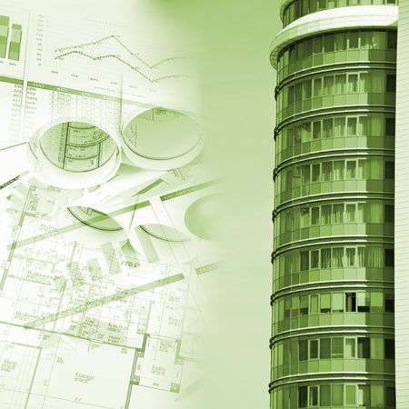 Office building and blueprint rolls, business collage photo
