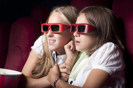 horror movie: two girls look three-dimensional cinema, sitting in the glasses, eat popcorn, drink drink