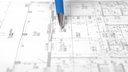 ball pen: Construction plans, ball pen, business collage, paperwork