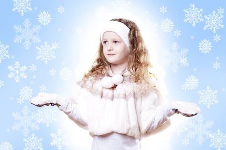 Winter Pleasant Girl snow flake blue  background photo