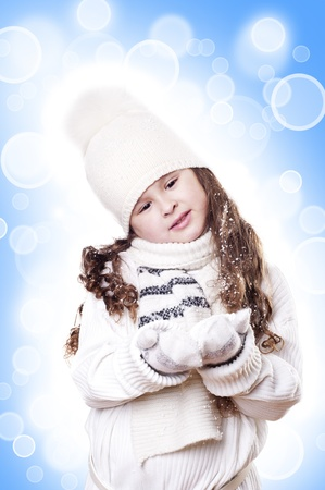 Winter Pleasant Girl abstract white and blue background photo