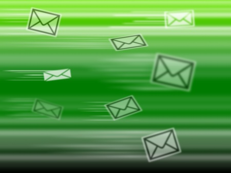Abstract green background, with flying postal mail photo