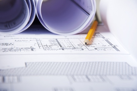 pencil, blueprints and documents, workplace building engineer Stock Photo - 12328280