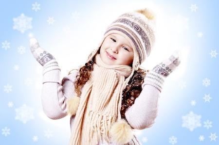 Winter Pleasant Girl snow flake blue  background photo